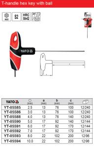 CHAVE HEX YATO DE MANGO T CON BOLA AUTO Reparación Ferramenta de construción Allen Key Especificación tipo T YT-05585