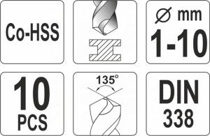 YATO POWER TOOL ACCESSORIES 10PCS CO-HSS TWIST DRILL BIT SET YT-41603