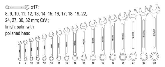 YATO YT-0363 High Quality Auto Repair Tools 17Pcs Combination Spanner Wrench Set