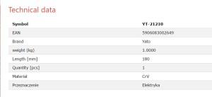 COITELO DE CABLE INXECCIONADO (RECTO) YATO YT-21210