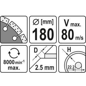 YATO YT-6004 DIAMANTKLINGE SEGMENTIERT - HS 180MM ELEKTROWERKZEUG ZUBEHÖR