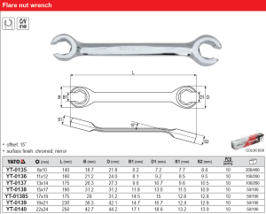 FLARE NUT WRENCH 8X10MM YATO YT-0135