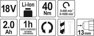 یاٹو پاور ٹولز کارڈلس پاور ٹولز 18V ڈرل / ڈرائیور YT-82782