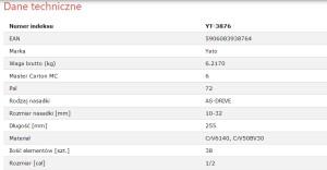 YATO YT-3876 ہینڈ ٹولز پروفیشنل کار کی مرمت بہت بڑی ڈیوٹی سکیٹی WRENCH سیٹ 1/2