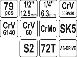 ياتو YT-38911 عدد الادوات اليدوية مقبس طقم ادوات للمهندس مجموعة مقابس شاملة للصيانة الآلية 1/4